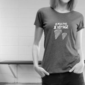 T-shirt mode design pastèque femme je peux pas je voyage